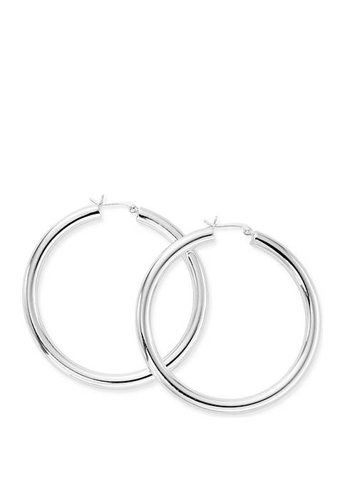 Belk Silverworks Silver Tone Tube Hoop Earrings