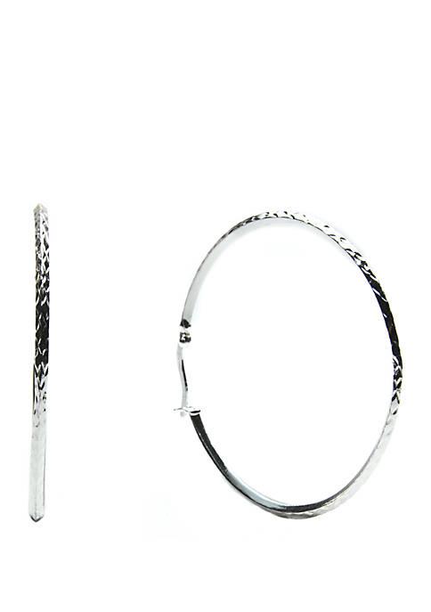 Belk Silverworks Silver Tone Large Diamond Cut Hoop