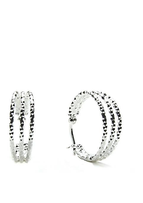Belk Silverworks Diamond Cut Triple Hoop Earrings