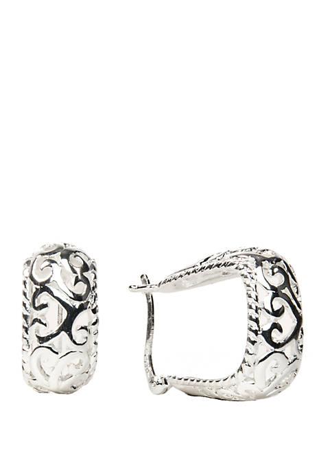 Belk Silverworks Filigree Click Top Hoop Earrings