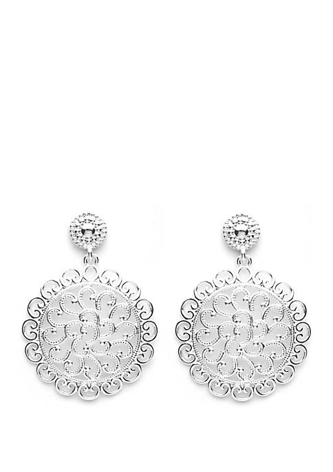 Silver Tone Designer Look Circle Filigree Post Drop Earrings