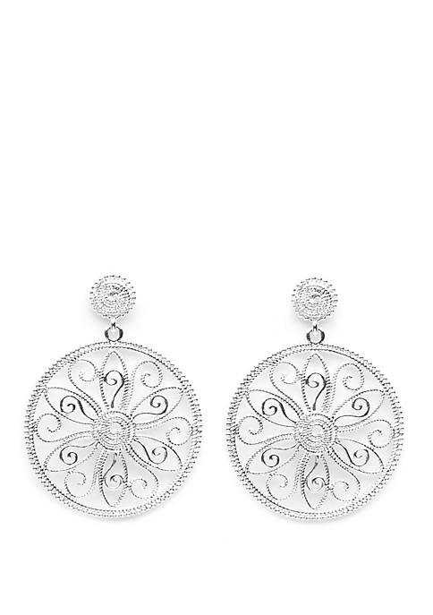 Belk Silverworks Silver Tone Designer Look Filigree Flower