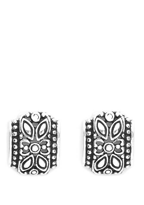 Belk Silverworks Silver Tone Ox Design Stud Earrings