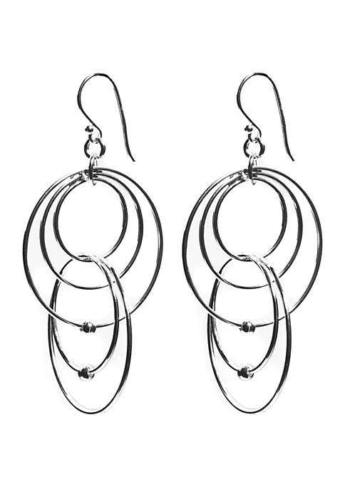 Belk Silverworks Silver Tone Multi Circle Drop Earrings