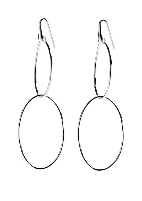 Belk Silverworks Silver Tone Double Oval Long Drop