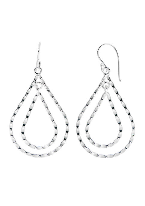 Belk Silverworks Pure 100 Double Twisted Teardrop Earrings