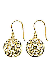 Gold-Tone Pure 100 Diamond Cut Filigree Disc Drop Earrings