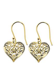 Gold-Tone Pure 100 Filigree Diamond Cut Heart Drop Earrings