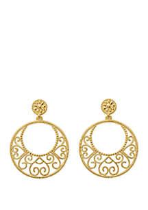 Open Filigree Hoop Drop Earrings