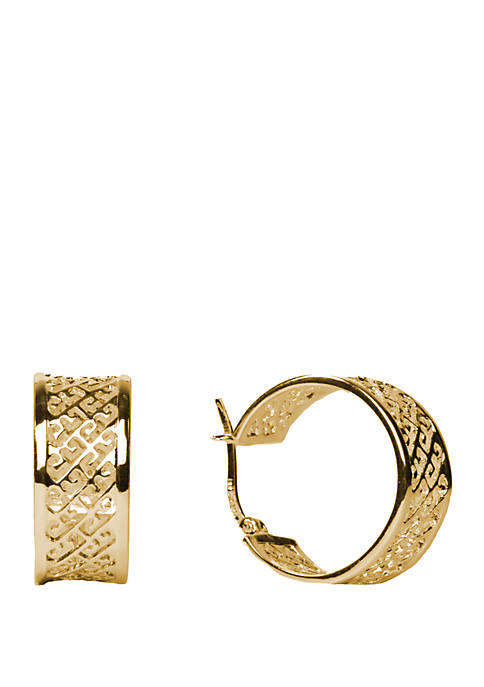 Belk Silverworks Gold Plated Small Cutout Hoop Earrings