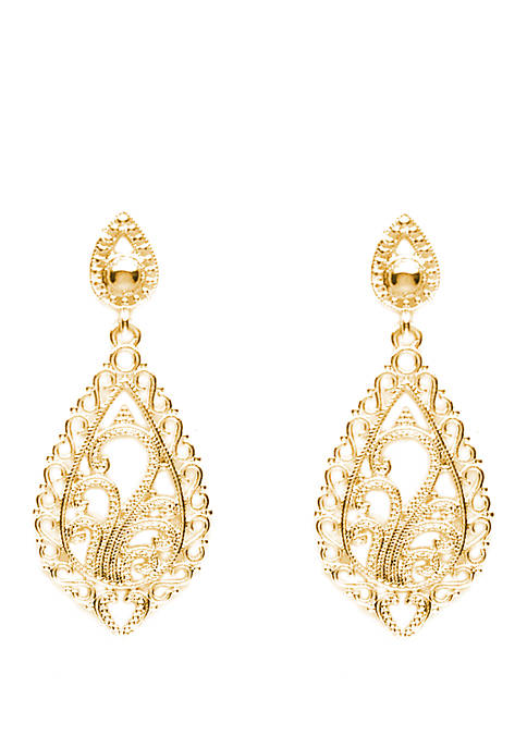 Belk Silverworks Gold Plated Shaped Filigree Drop Earrings