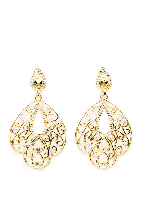 Belk Silverworks Gold Plated Designer Shaped Filigree Drop