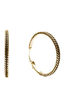 Belk Silverworks Gold Plated Large Designed Ox Hoop Earrings