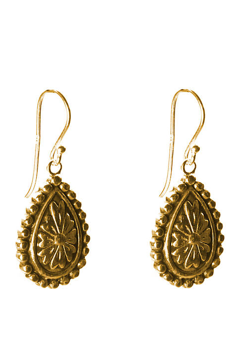 Belk Silverworks Gold Plated Oval Design Drop Earrings