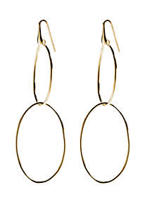 Belk Silverworks Gold Over Fine Silver Plated Double Oval Long Drop Earrings