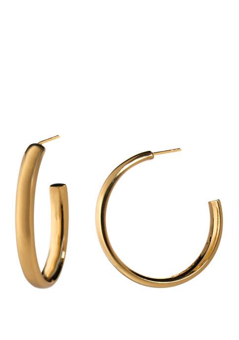 Belk Silverworks 35 Millimeter Post Niked Hoop Earrings