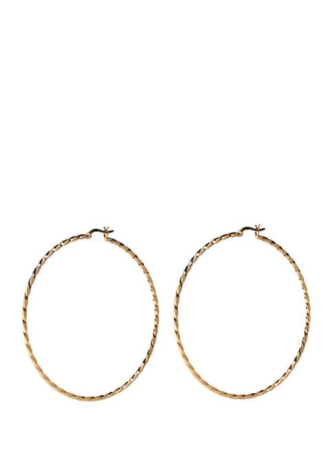 Belk Silverworks 70 Millimeter Click Twist Hoop Earrings