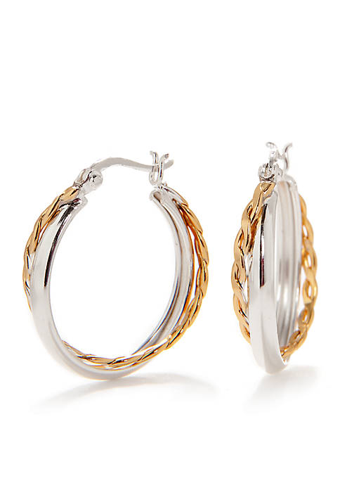 Pure 100 Two-Tone Double Hoop Earring