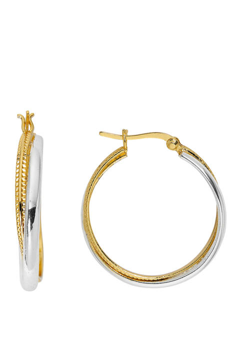 Belk Silverworks 2 Tone Overlapping Hoop Earrings