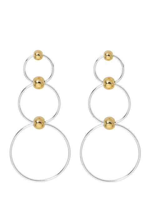 Belk Silverworks Beaded Graded Drop Earrings