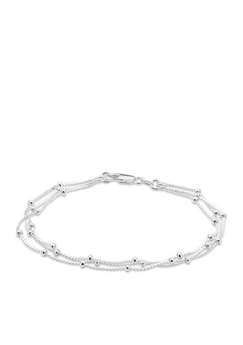Silver-Tone Pure 100 Triple Row Serpentine Chain Bracelet