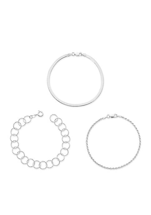Belk Silverworks Silver-Tone Set of 3 Stackable Bracelets