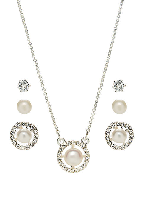 Belk Silverworks Cubic Zirconia Pearl in Circle Necklace