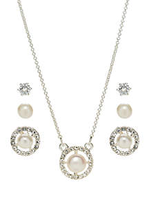 Belk Silverworks Cubic Zirconia Pearl in Circle Necklace and Earring Set