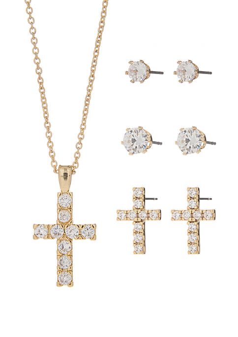 Gold-Plated Cubic Zirconia Pave Cross Necklace and Stud Set
