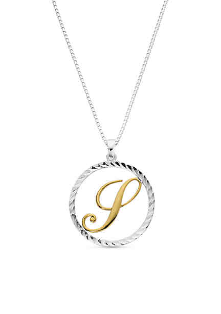 Personalized jewelry belk belk silverworks two tone pure 100 s initial pendant necklace aloadofball Choice Image