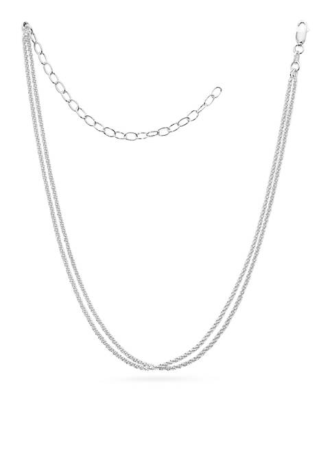 Belk Silverworks Silver-Tone Pure Two-Row Sparkle Chain Necklace