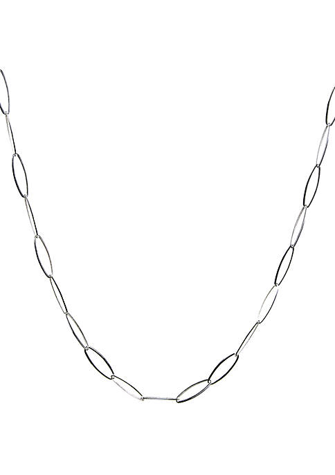 Silver Tone Oval Link Chain Necklace