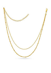 Gold-Tone Pure Two-Row Bead Station Chain Necklace