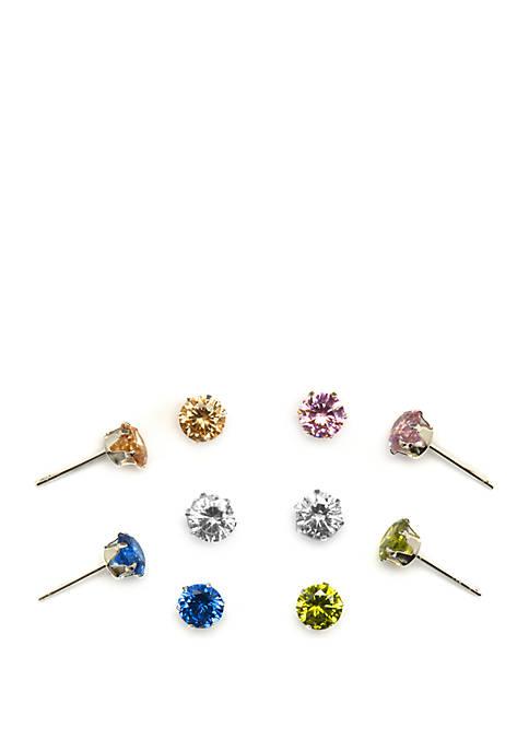Belk Silverworks 5 Pair Cubic Zirconia Stud Earring