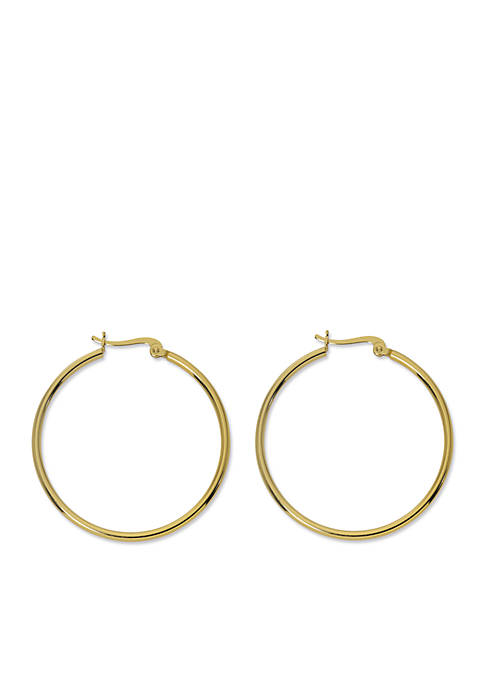 24kt Gold Over Sterling Silver Hoop Earring