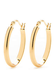 24kt Gold Over Sterling Silver Smooth Oval Hoop Earrings