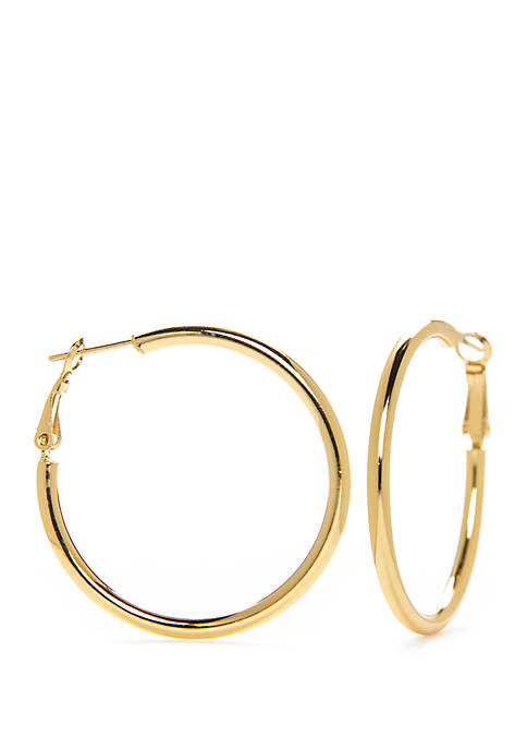 Belk Silverworks Sterling Silver Polished Thick Hoop Earrings