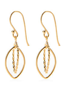 24k Gold Over Sterling Silver Double Teardrop Earrings