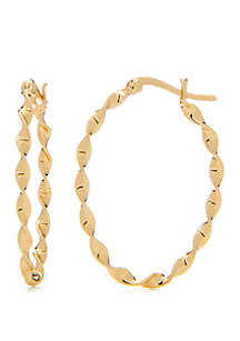 24k Gold Over Sterling Silver Twisted Oval Hoop Earrings