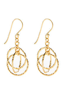 24k Gold Over Sterling Silver Multi Circle Drop Earrings