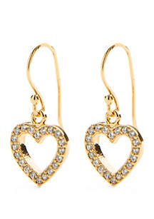 24kt Gold Over Sterling Silver Pace Heart Drop Earrings