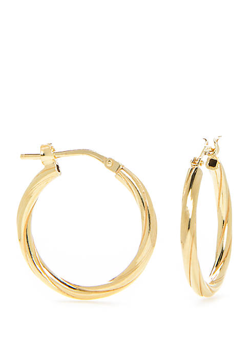 Belk Silverworks Sterling Silver Twist Polished Hoop Earrings