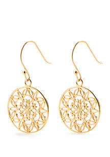 24kt Gold Over Sterling Silver Filigree Round Drop Earrings
