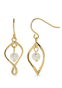 24kt Gold Over Sterling Silver Genuine Pear Teardrop Earrings