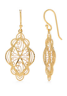24kt Gold Over Sterling Silver Scallop Doily Drop Earrings