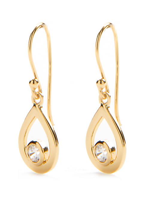 24k Gold Over Sterling Silver Teardrop Cubic Zirconia Earrings