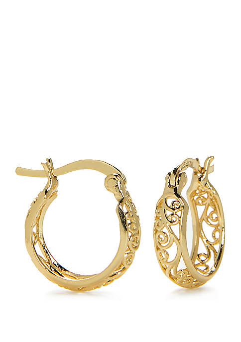 Gold-Tone Cutout Hoop Earrings