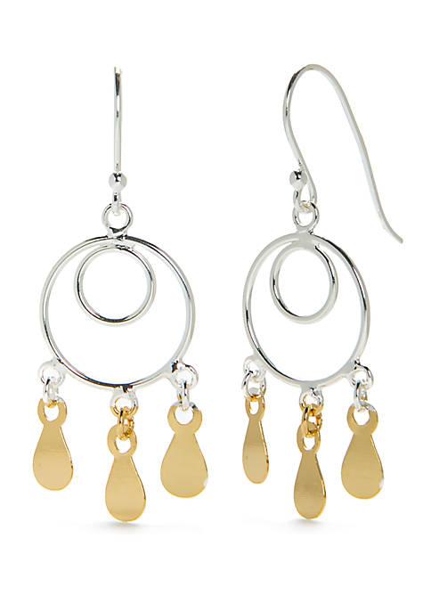 2-Tone Double Circle Drop Earrings