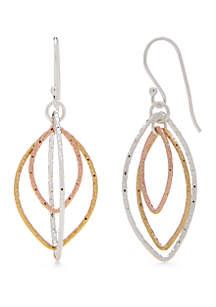 Tri-Tone Sterling Silver Textured Drop Earrings
