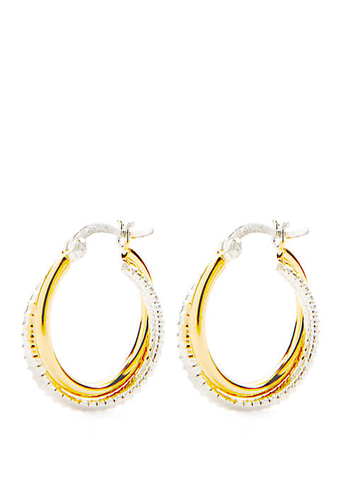 Belk Silverworks 2-Tone Plain and Textured Hoop Earrings